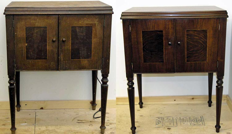 Sewing cabinet before and after restoration
