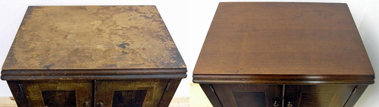 Cabinet top before and after refinishing