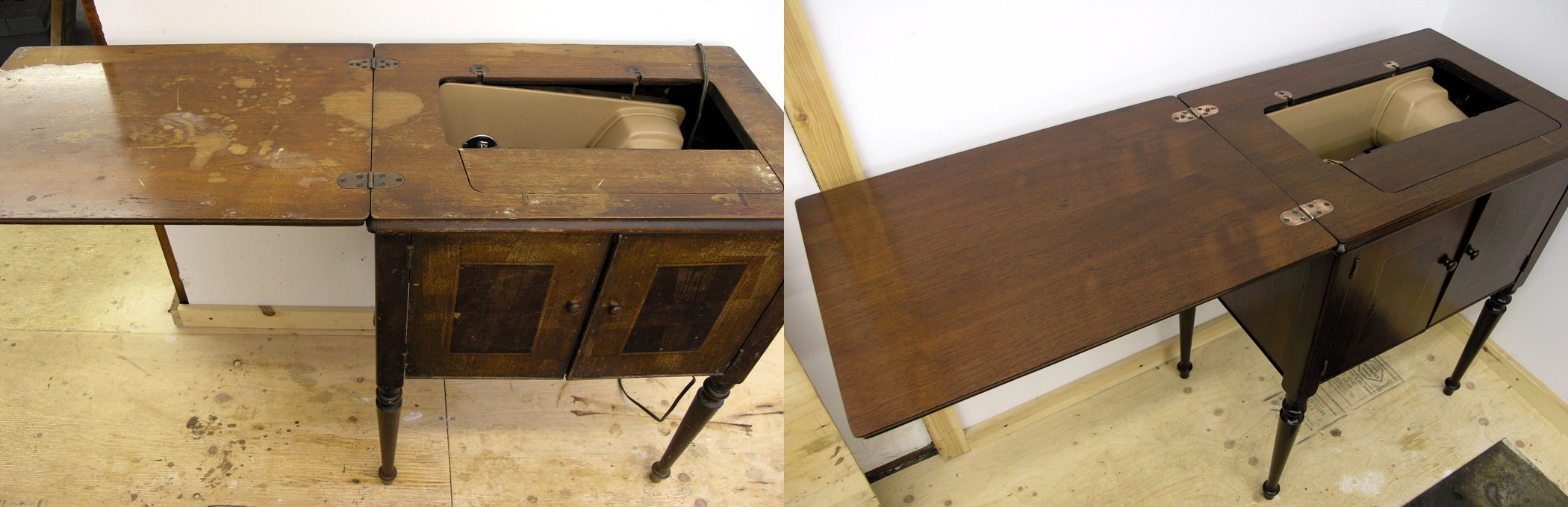 Cabinet before and after refinishing