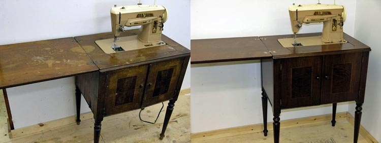 Refinished sewing cabinet before and after with sewing machine