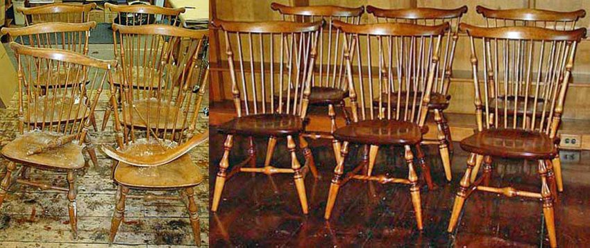 6 Windsor chairs before and after restoration