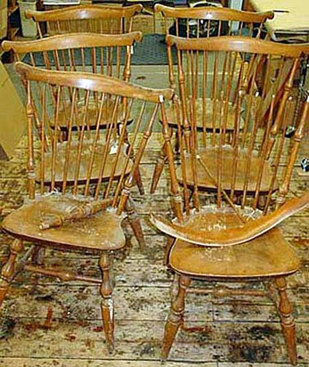 6 Windsor chairs before restoration