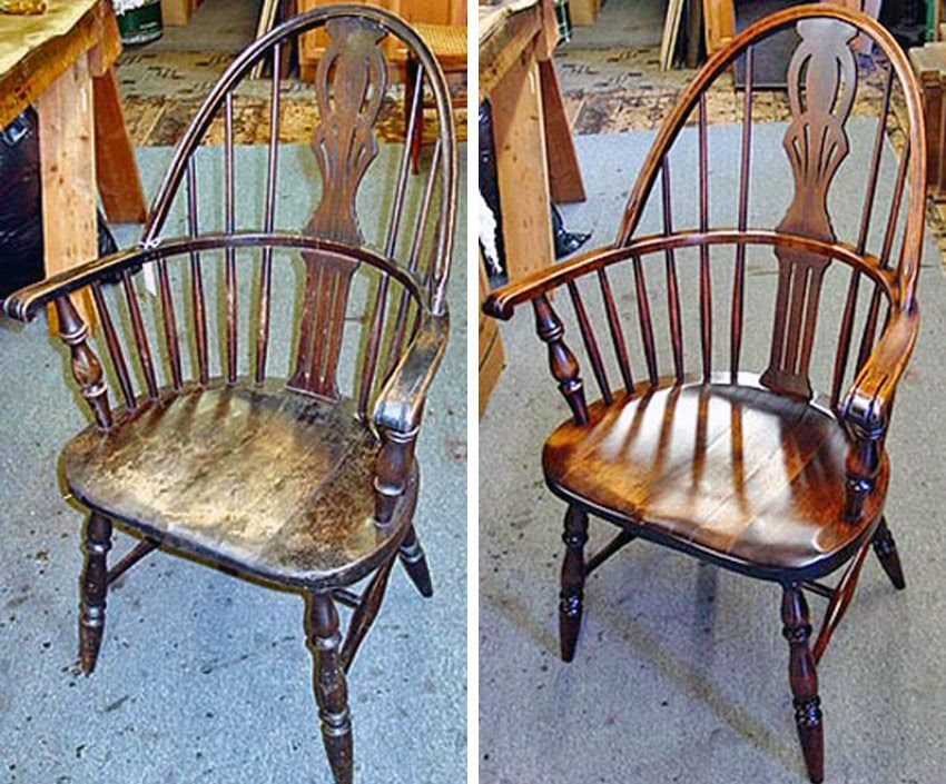 Windsor chair before and after refinishing