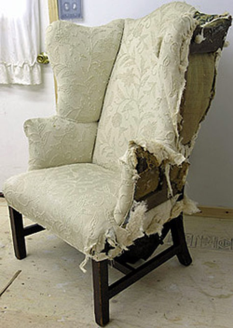 Antique wing chair reupholstered