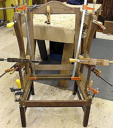 Wing chair frame glued and clamped