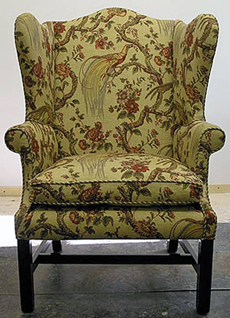 Wing chair repaired and reupholstered