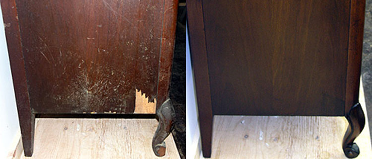 Side of dresser before and after refinishing
