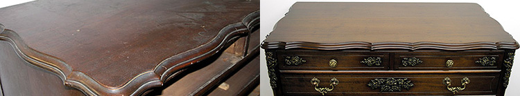 Dresser top before and after refinishing