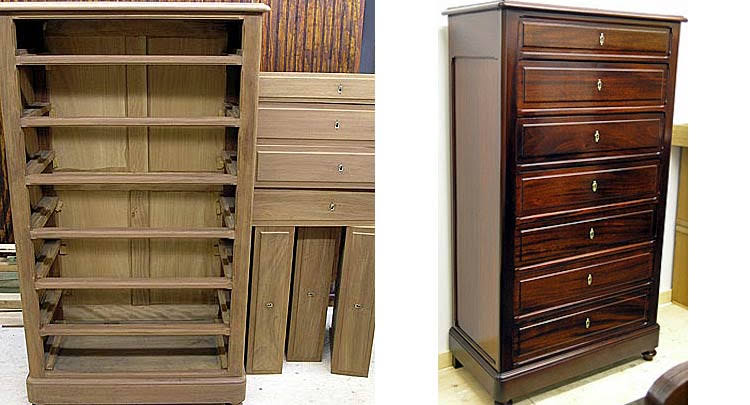 Semainier chest during and after restoration