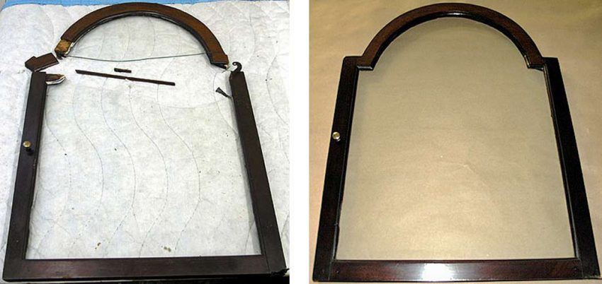 Clock door before and after repair