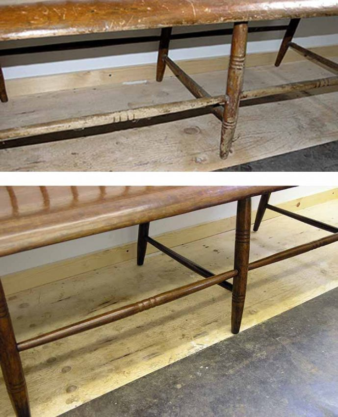 Bench legs and stretchers before and after refinishing