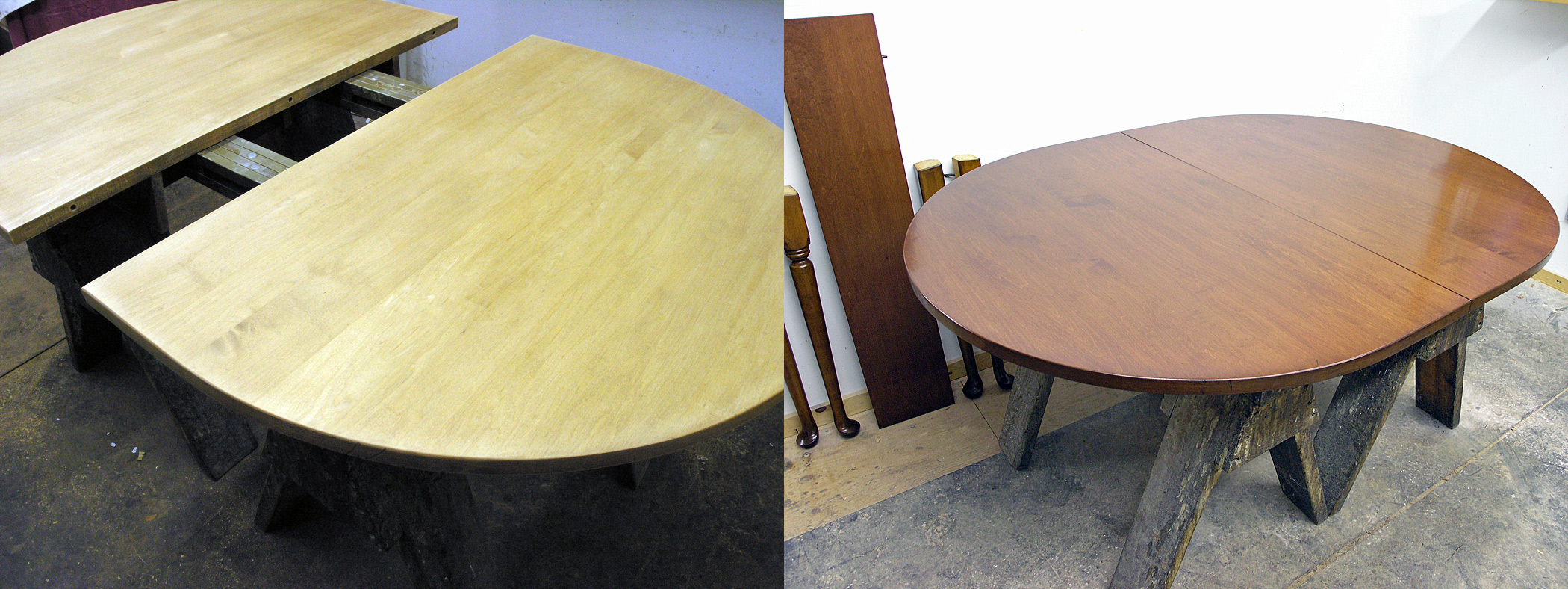 Maple table top after refinishing