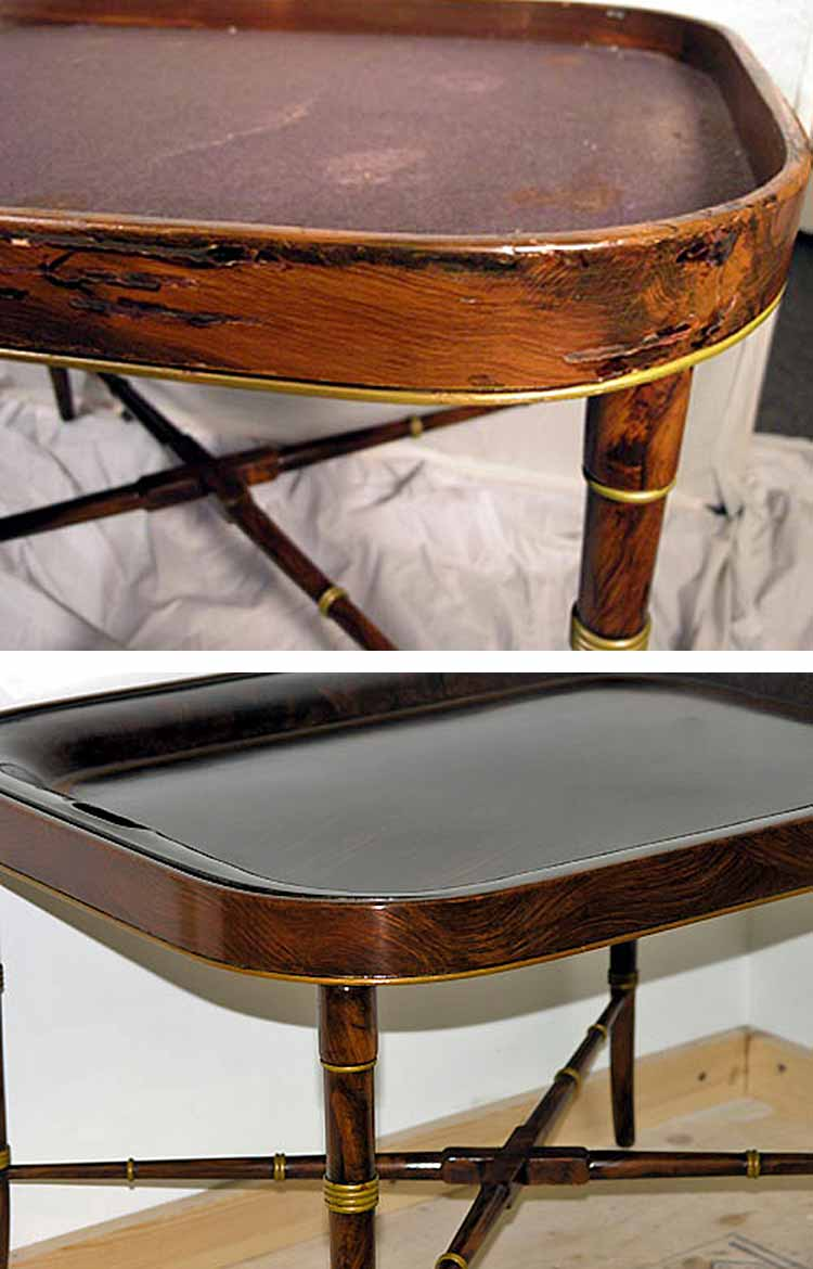 Antique tray table before and after restoration