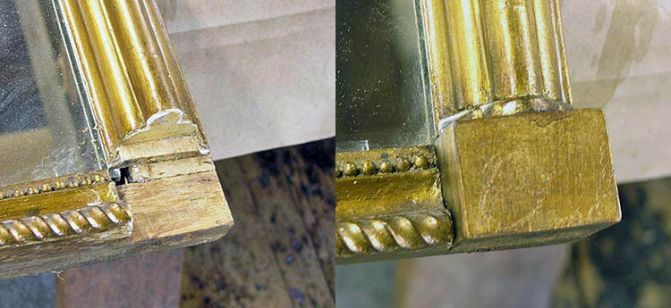 Missing gilt block replaced before and after