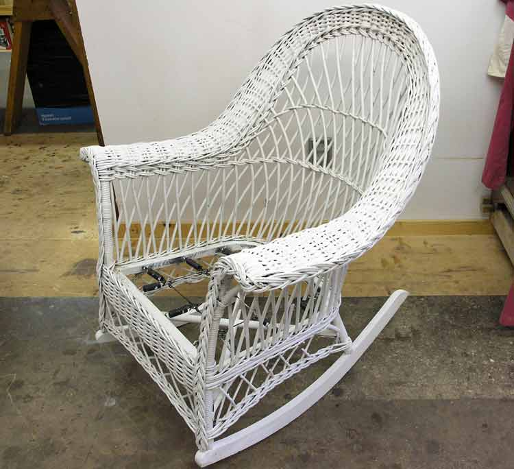 Repaired wicker rocker