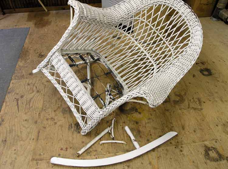 Broken wicker rocker