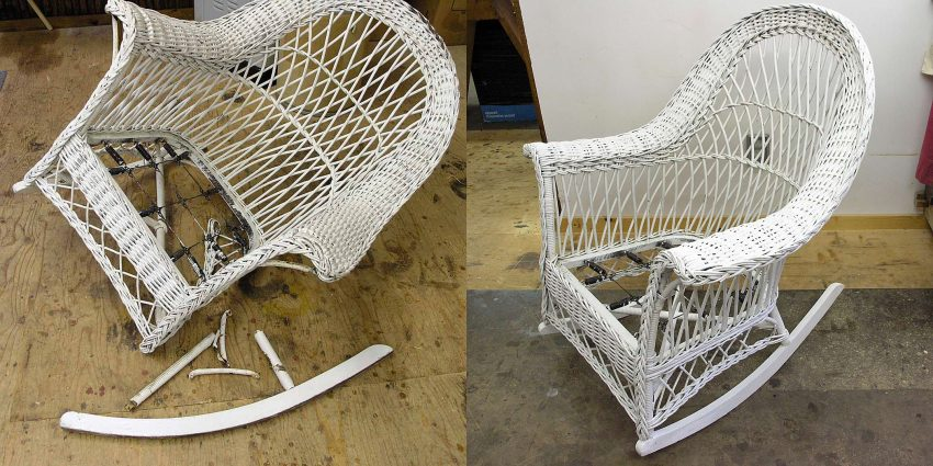 Wicker rocker before and after repair