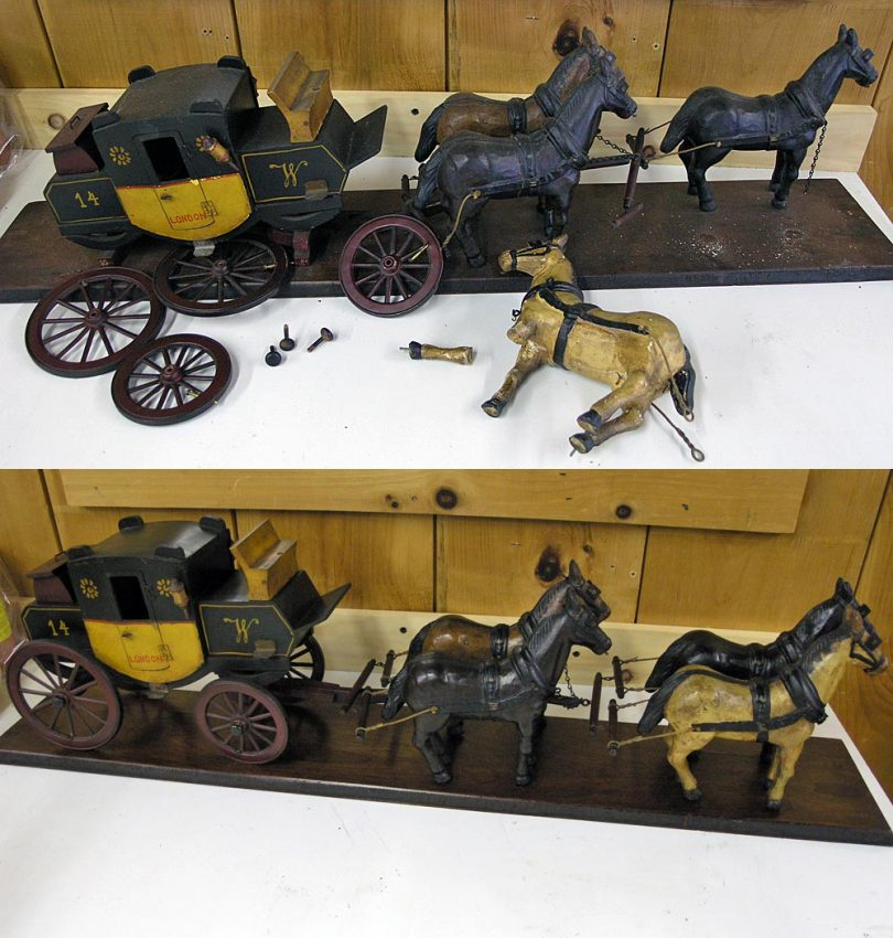 Miniature stagecoach replica before and after repair