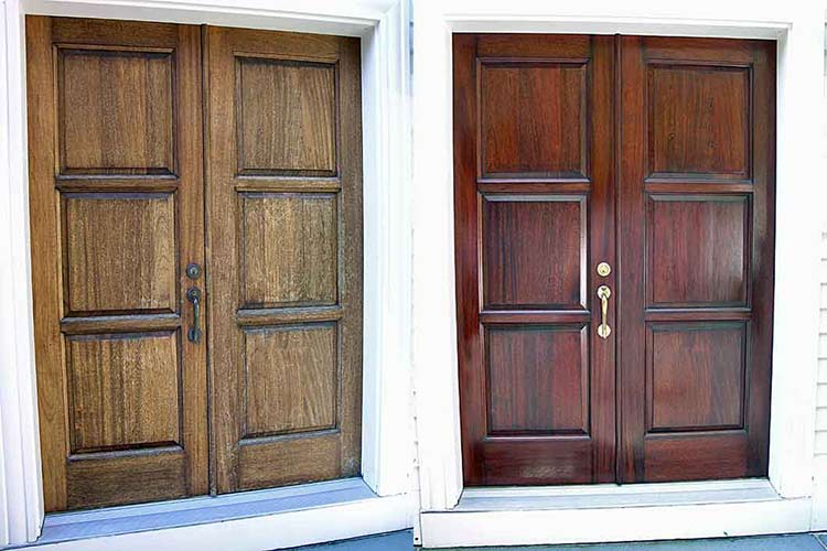 Mahogany exterior door before and after refinishing