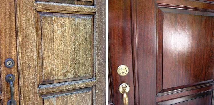 Close up of exterior door before and after refinishing