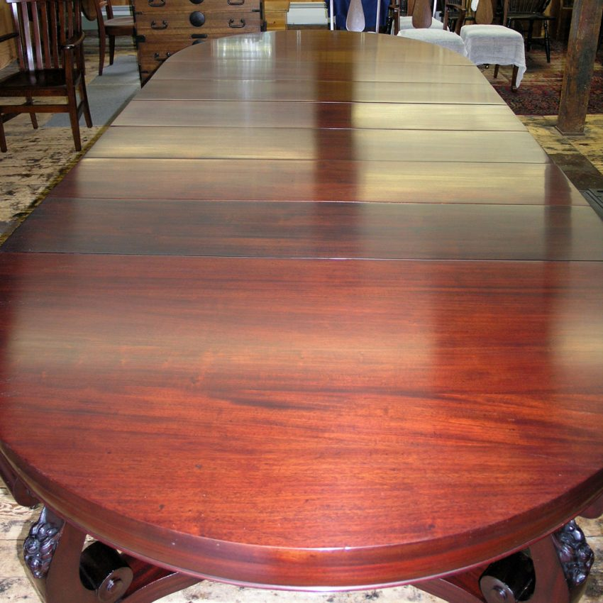 Mahogany dining table after refinishing