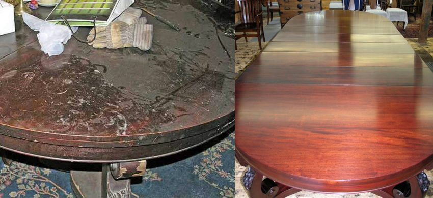 Mahogany dining table before and after refinishing