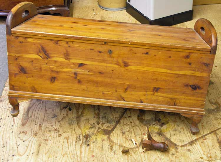 Cedar chest before restoration