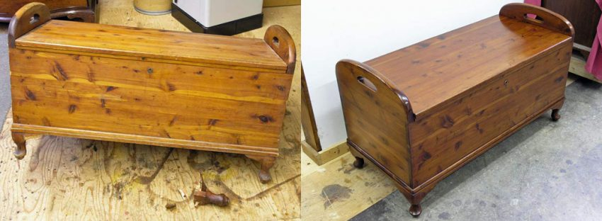 Cedar chest before and after restoration