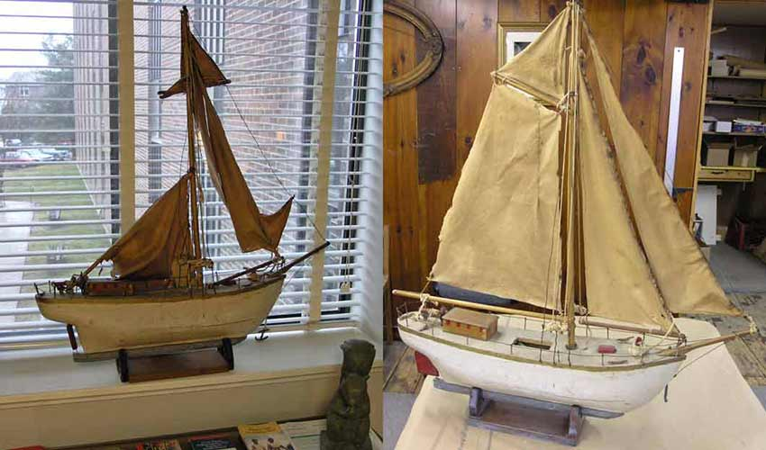 Wooden model sailboat before and after restoration