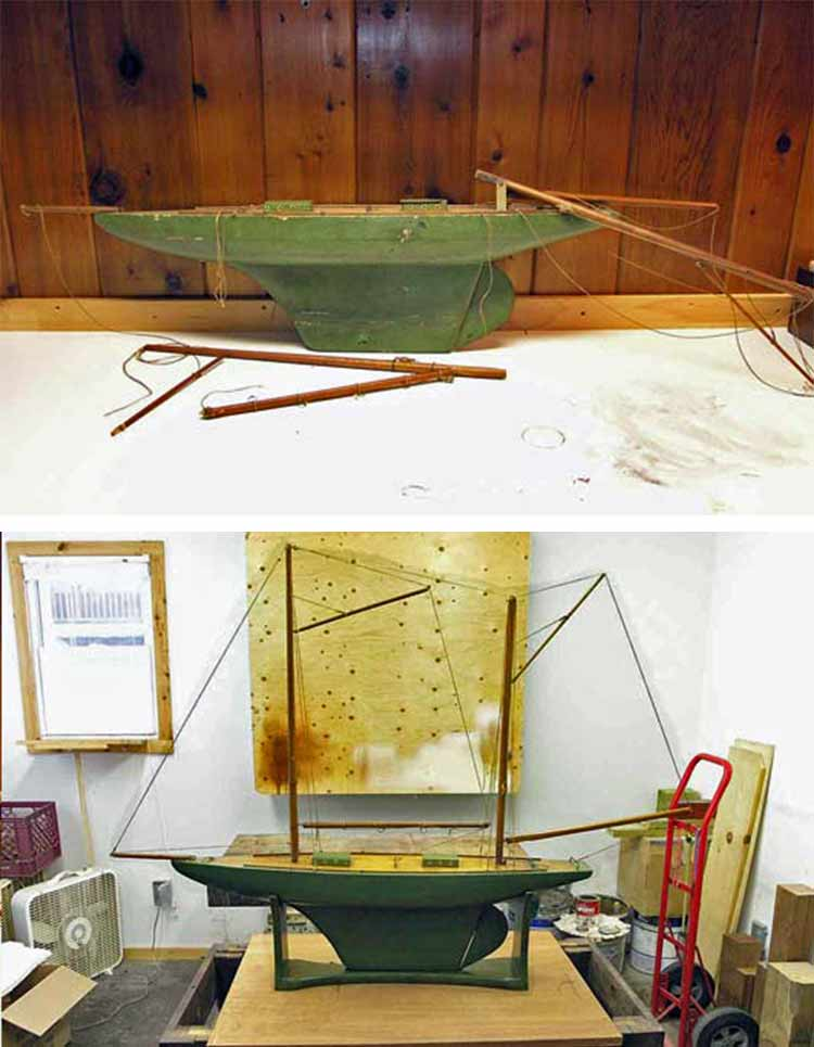 Wooden pond boat before and after restoration