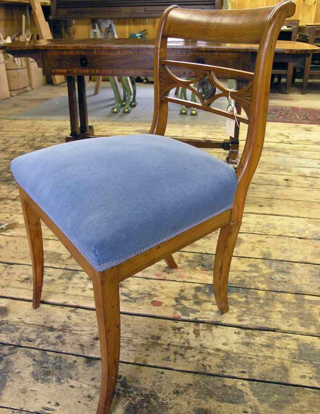 Biedermeier chair before repairing the back leg