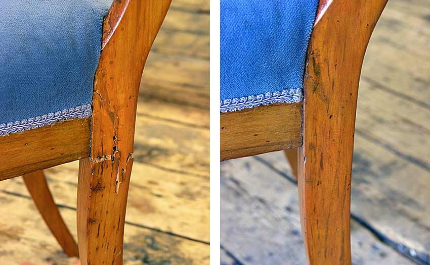 Biedermeier chair leg before and after repair