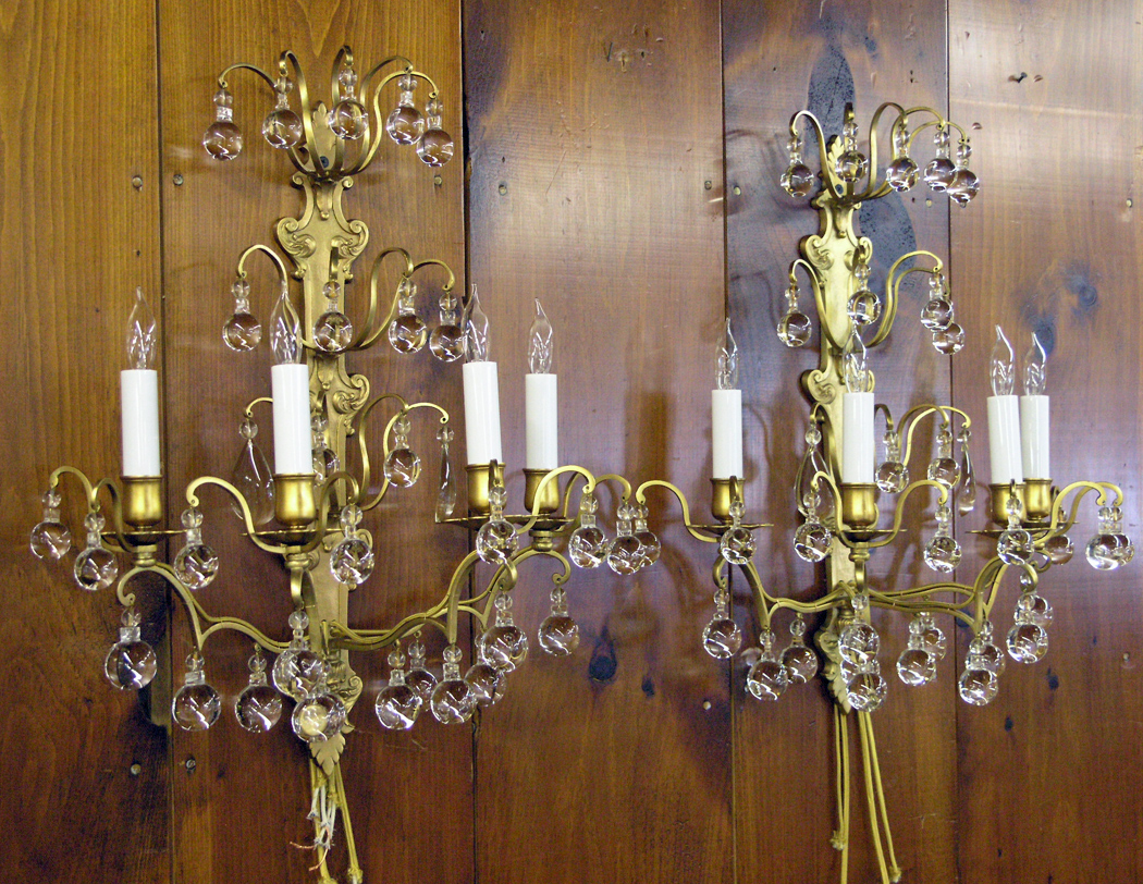 Antique sconces after repair
