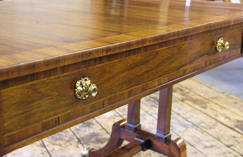 Reconditioned finish on sofa table