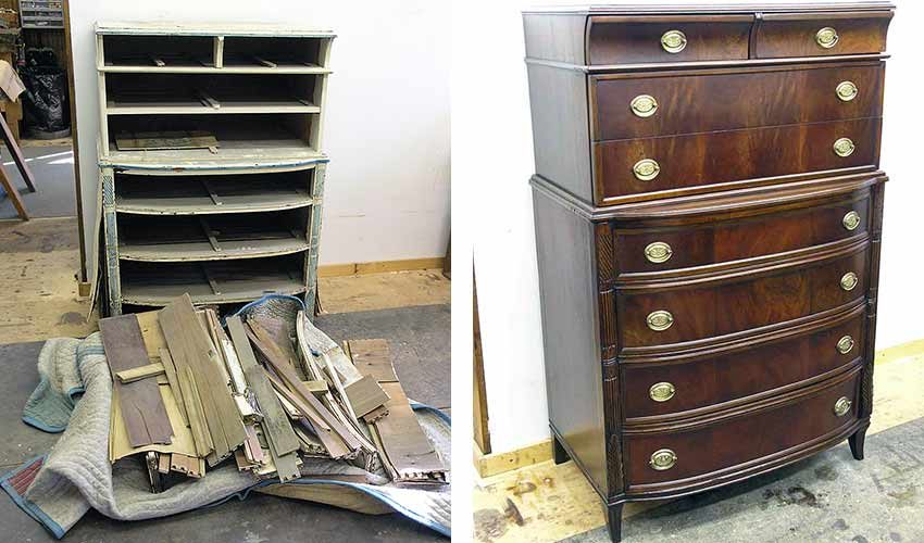 Dresser before and after restoration