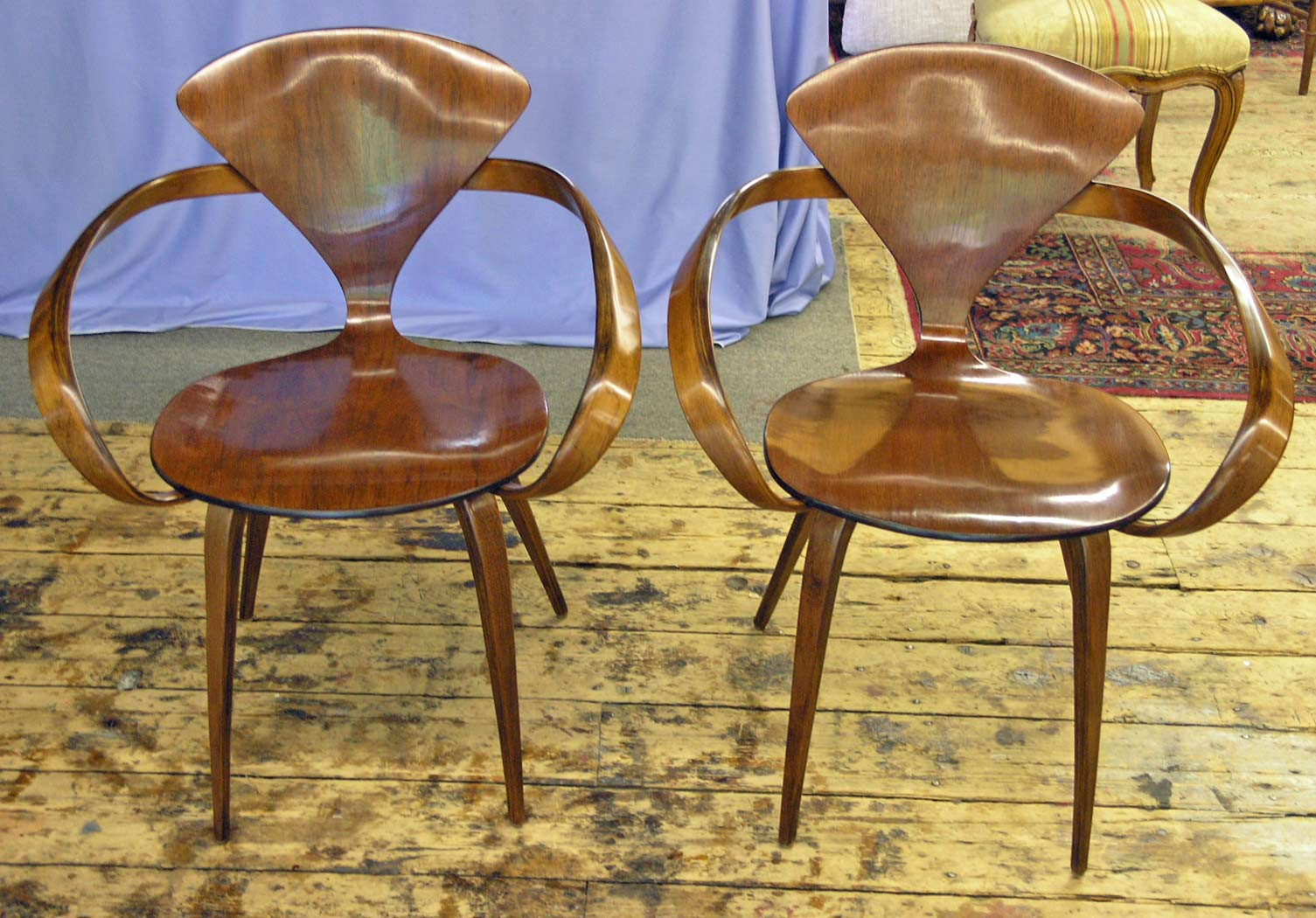 Two restored Plycraft chairs