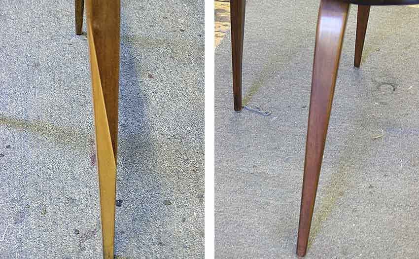 Plycraft chair leg before and after repair