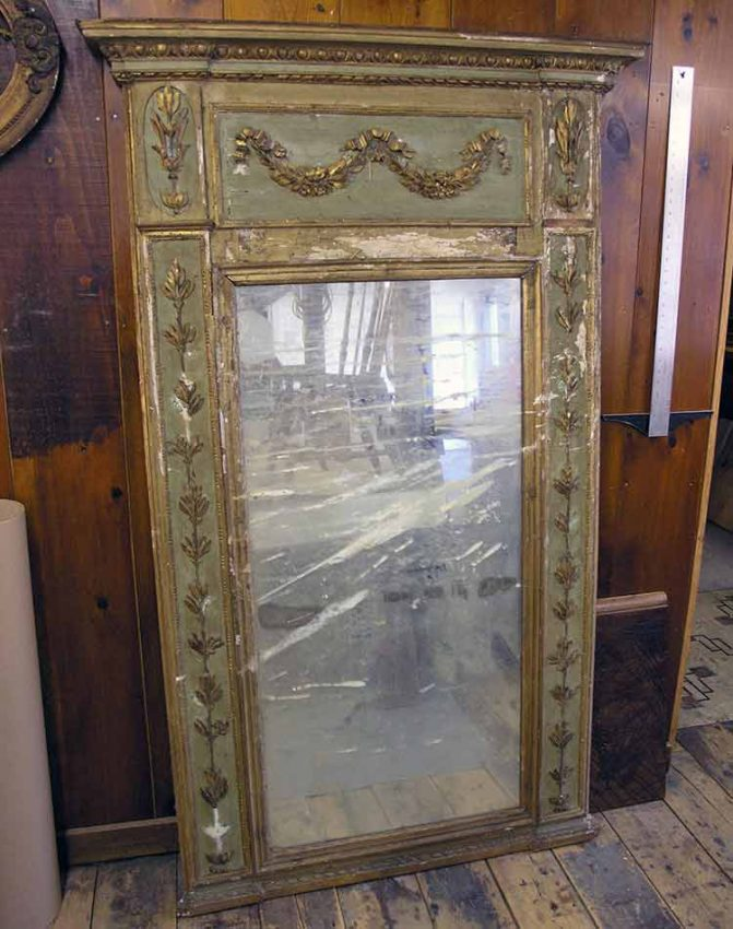Trumeau mirror before restoration