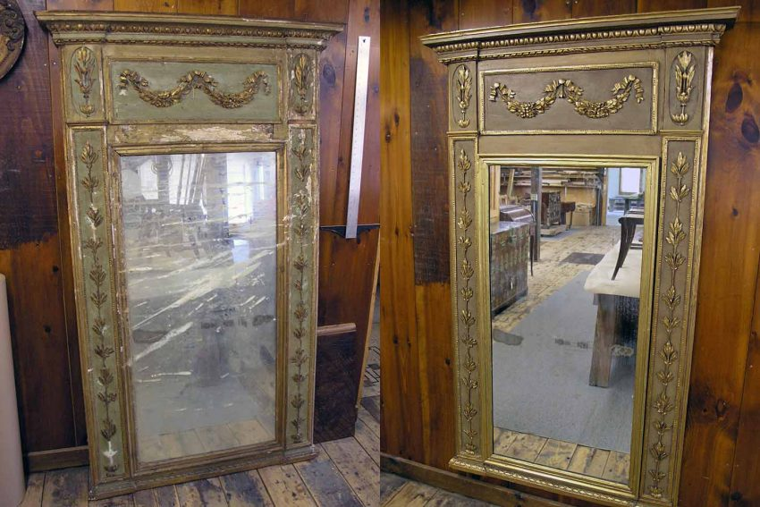 Antique mirror frame before and after restoration