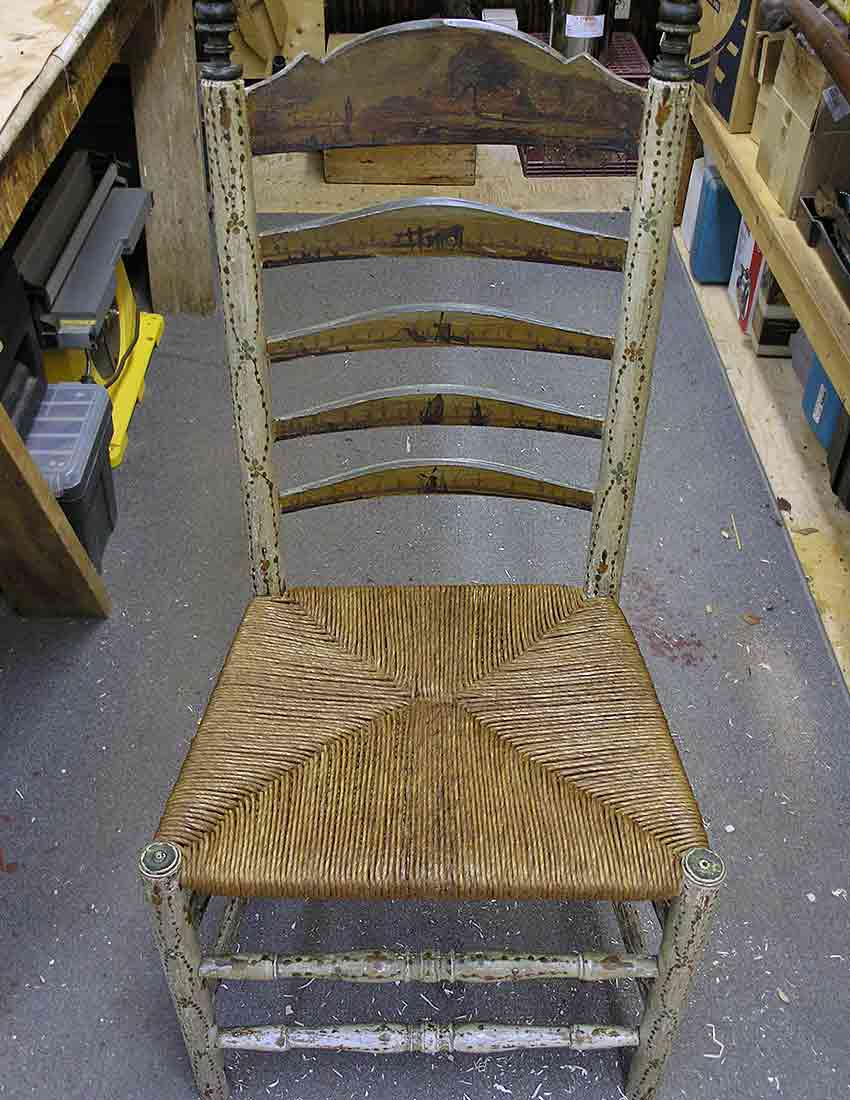 Chair with repaired seat
