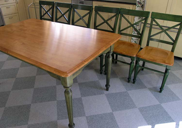 Kitchen table and chairs after refinishing