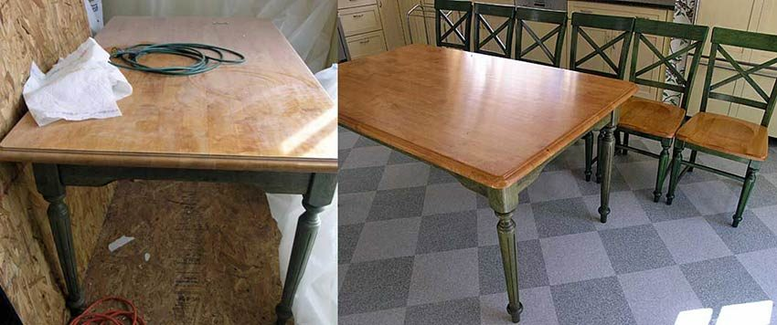Kitchen table and chairs before and after refinishing