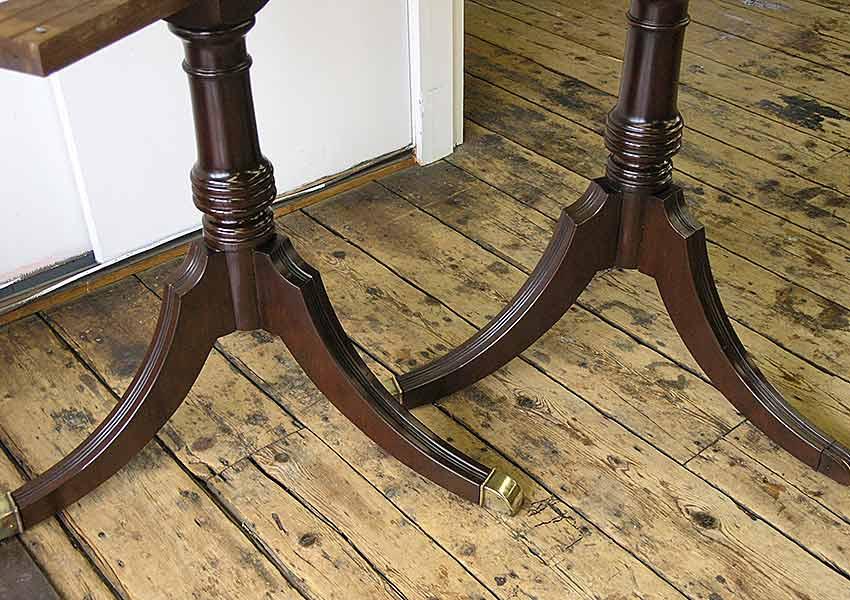 Pedestal table legs after repair