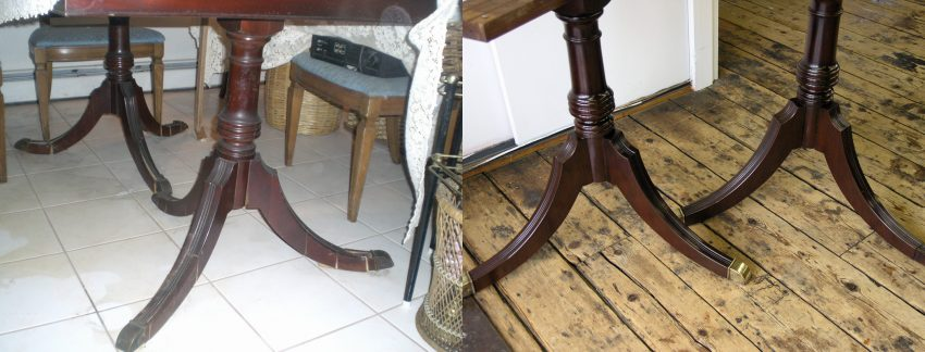 2 Table pedestals before and after repair