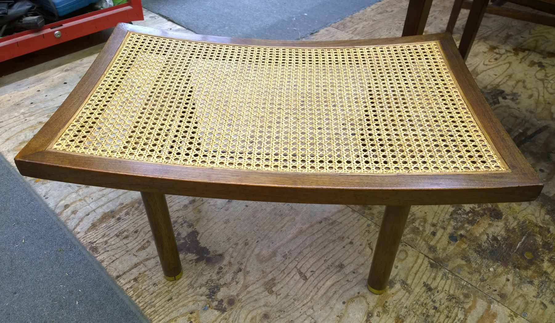 Walnut bench with cane seat replaced