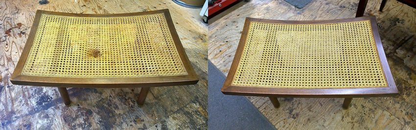Walnut bench before and after replacing the cane seat