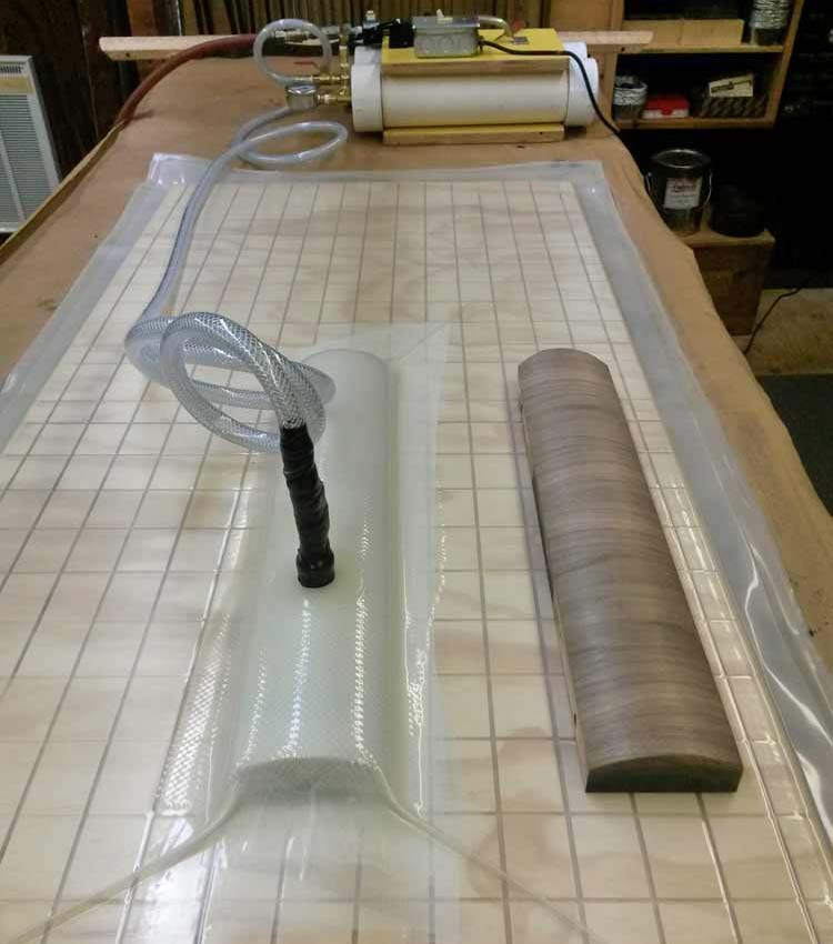 Vacuum press used to glue on veneer