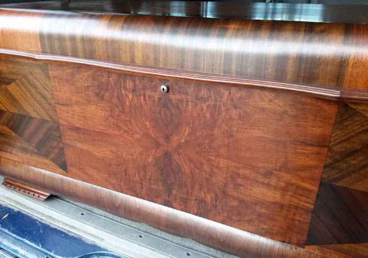 Close-up of refinished Lane cedar chest