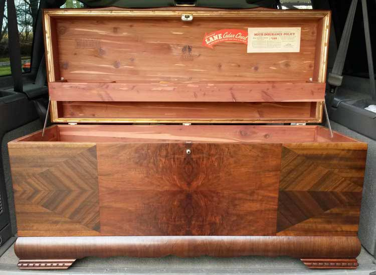 Original labels inside a Lane cedar chest