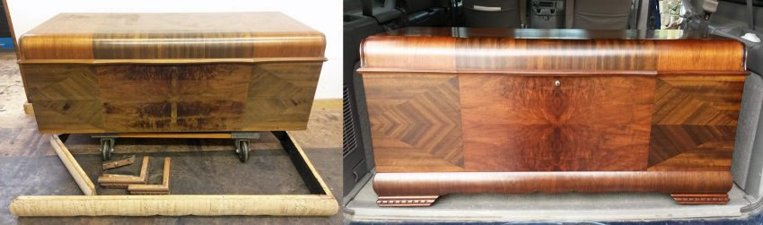 Lane cedar chest restoration before and after
